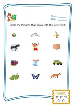 Circle the Matching Letter (A to M) - Animals