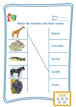 Match the Word - Wild Animals