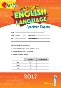 Primary 1 New Format English Language Specimen Paper