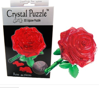 3D Crystal Puzzle Red Rose