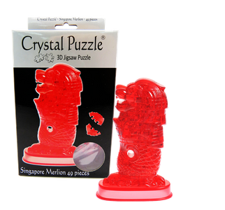 3D Crystal Puzzle Red Singapore Merlion