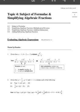Exam Buddy Elementary Mathematics Sec 2 (2020 Edition) Topic 4: Subject of Formulae