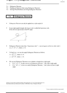 Exam Buddy Elementary Mathematics Sec 2 (2020 Edition) Topic 7: Pythagoras Theorem
