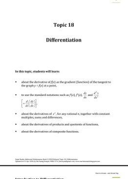 Exam Buddy Additional Mathematics (2020 Edition) Topic 18: Differentiation of Algebraic Expressions
