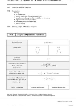 Exam Buddy Elementary Mathematics Sec 2 (2020 Edition) Topic 10:  Graphs of Quadratic Functions