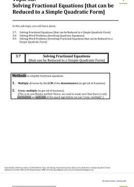 Exam Buddy Elementary Mathematics Sec 3 (2020 Edition) Topic 3: Quadratic Equations (Part 2)