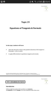 Exam Buddy Additional Mathematics (2020 Edition) Topic 19: Equations of Tangents & Normals