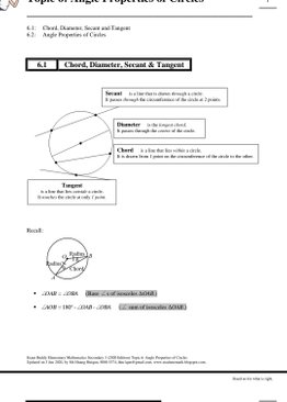 Exam Buddy Elementary Mathematics Sec 3 (2020 Edition) Topic 6: Angle Properties of Circles