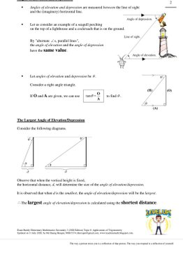 Exam Buddy Elementary Mathematics Sec 3 (2020 Edition) Topic 8: Applications of  Trigonometry