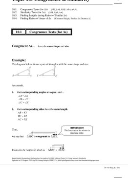 Exam Buddy Elementary Mathematics Sec 3 (2020 Edition) Topic 10: Congruence & Similarity