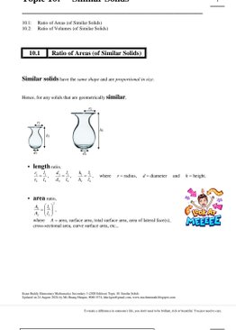 Exam Buddy Elementary Mathematics Sec 3 (2020 Edition) Topic 11: Similar Solids