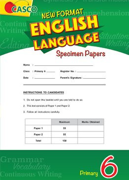 Primary 6 New Format English Language Specimen Paper