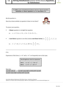Exam Buddy Additional Mathematics (2020 Edition) Topic 1: Simultaneous Equations