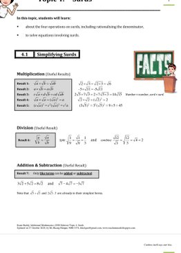 Exam Buddy Additional Mathematics (2020 Edition) Topic 4: Surds