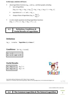Exam Buddy Additional Mathematics (2021 Edition) Topic 6: Logarithm