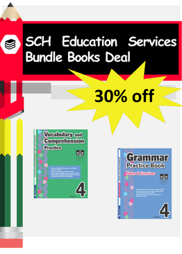 2-in-1 Primary 4  Grammar & Vocabulary and Comprehension book bundle
