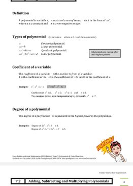 Exam Buddy Additional Mathematics (2020 Edition) Topic 7: Polynomials and Partial Fractions
