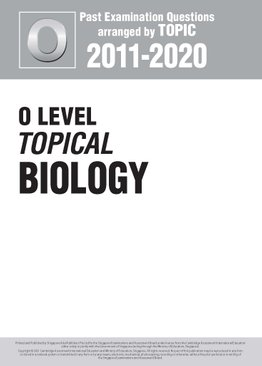 O Level Topical Biology 2010-2020 + Answers